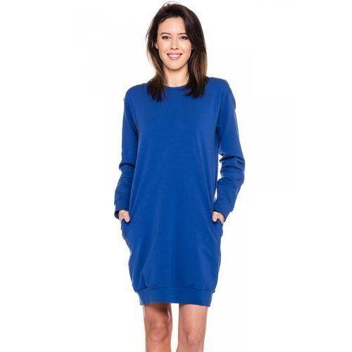 Sportowa sukienka w kolorze niebieskim - Bialcon, kolor niebieski