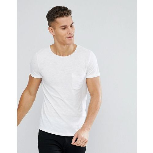 Tom Tailor Crew Neck T-Shirt with Raw Edge - White