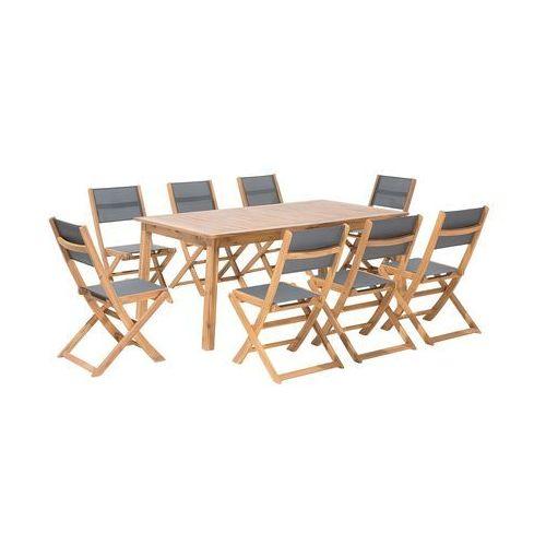 Zestaw ogrodowy drewniany 8-osobowy textilene ciemnoszary cesana marki Beliani