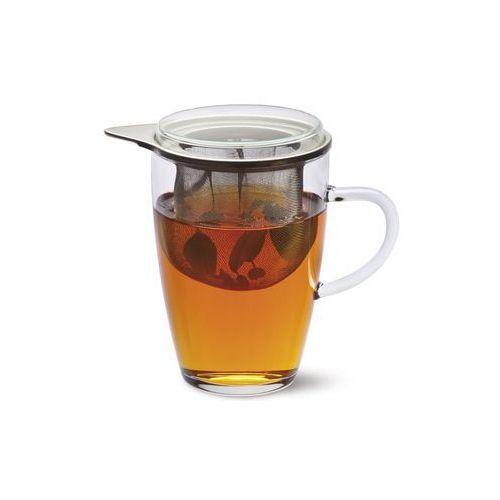 Black red white Szklanka z zaparzaczem tea 4 one