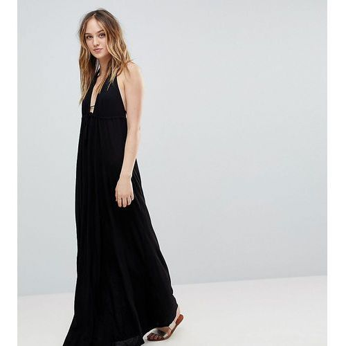 ASOS DESIGN Tall Tie Front Plunge Jersey Maxi Beach Dress - Black