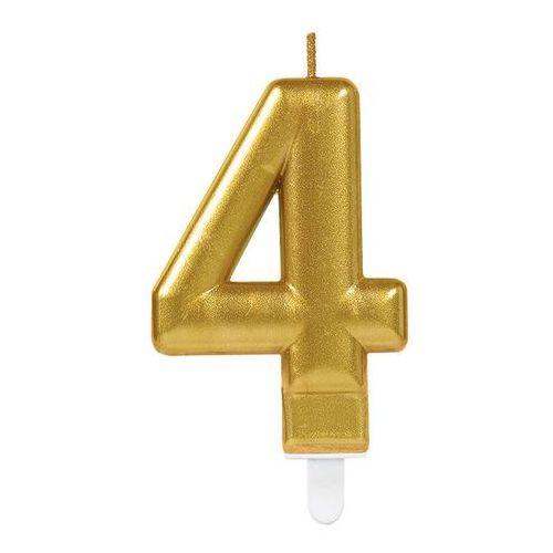 Świeczka cyferka złota cztery - 4 marki Amscan