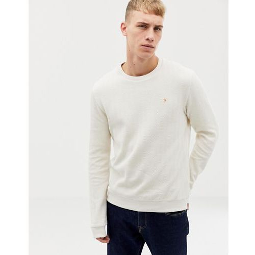 Farah Wadden Herringbone Textured Crew Neck Sweat in Off White - White