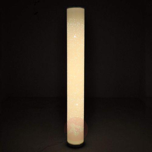 Ecris – lampa stojąca LED z brokatowym kloszem