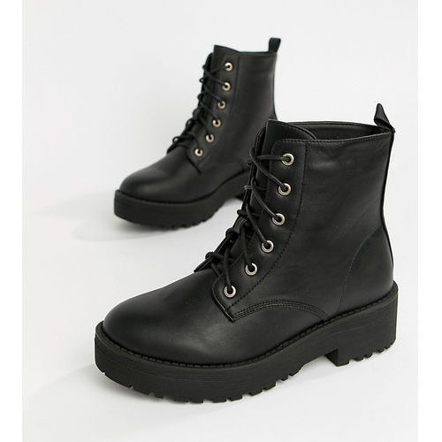 chunky lace up flat ankle boots - black marki Truffle collection