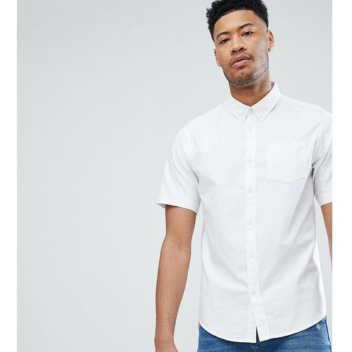 D-Struct TALL Basic Oxford Short Sleeve Shirt - White, kolor biały