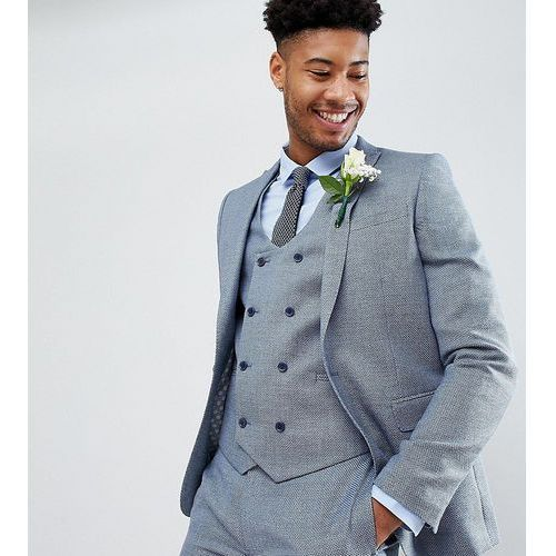 tall wedding skinny suit jacket in airforce blue micro texture - blue marki Asos design