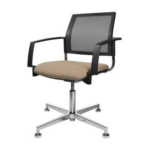 Fotel obrotowy z obiciem, brązowy, oparcie siatkowe, czarny. Eleganckie fotele n