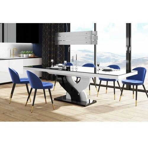 Stół rozkładany bella 160-256 czarno-biały mix połysk marki Hubertus