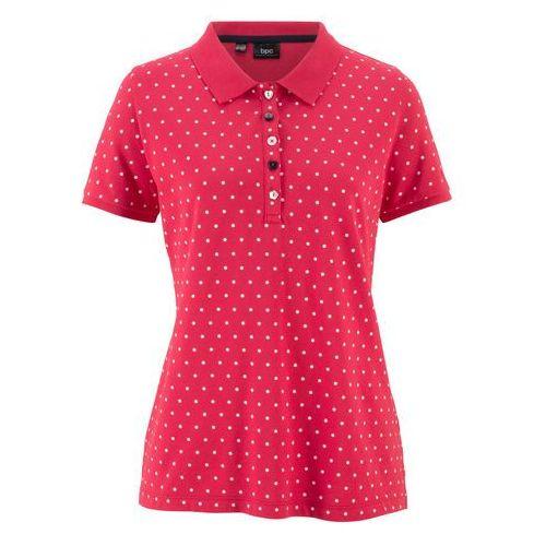 """Shirt polo """"pique"""", w kropki bonprix czerwono-biały w kropki, kolor czerwony"""