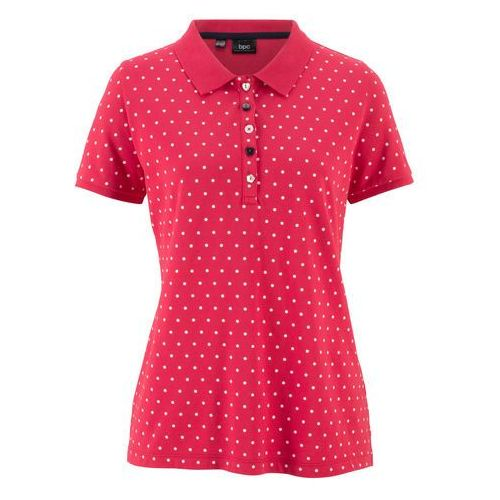"""Shirt polo """"pique"""", w kropki czerwono-biały w kropki, Bonprix, 32-50"""