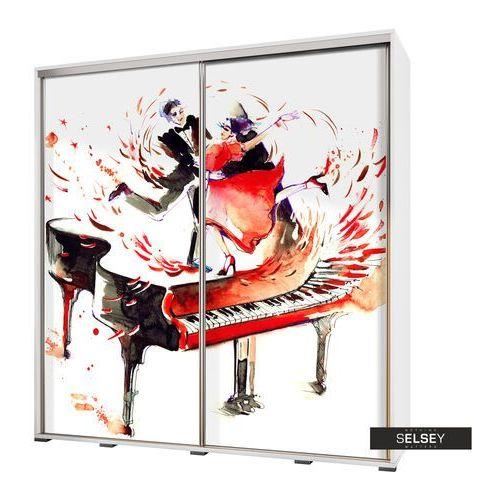 SELSEY Szafa Wenecja 205 cm Akwarelowy fortepian z tańczącą parą (5900000071945)