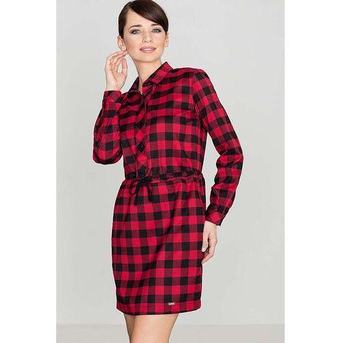 Czarno&Czerwona Sukienka Typu Szmizjerka w Kratę z Długim Rękawem, w 4 rozmiarach