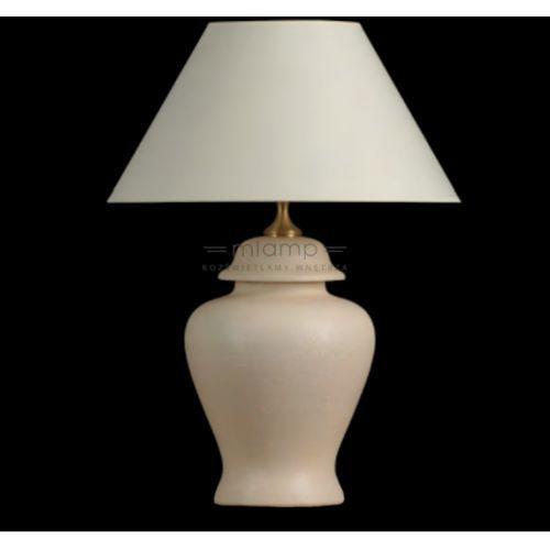 Stojąca LAMPA stołowa BOS II beż abażurowa LAMPKA nocna w stylu angielskim ecru beżowa (1000000243628)