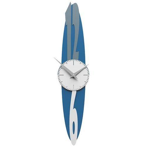 Zegar ścienny do salonu Shield CalleaDesign niebieski / szary / biały (10-028-44), kolor niebieski