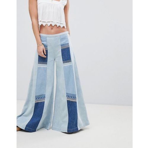 Free People Patchwork Denim Wide Leg Jeans - Blue, jeans