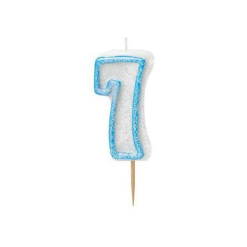 Brokatowa świeczka cyferka siedem 7 niebieska - 1 szt. marki Unique