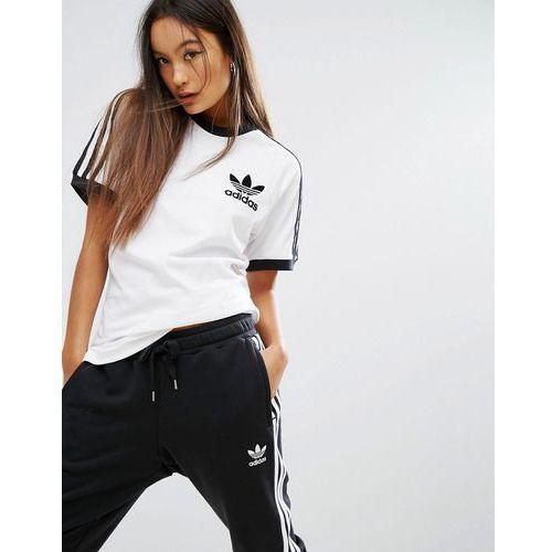adidas Originals White Three Stripe T Shirt White , adidas