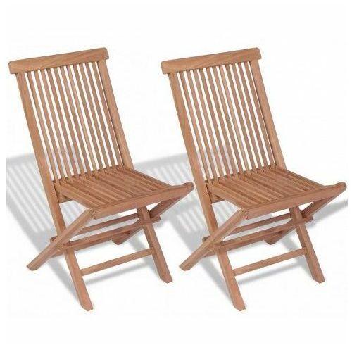 Składane krzesła ogrodowe tekowe Soriano - 2 szt, vidaxl_41993