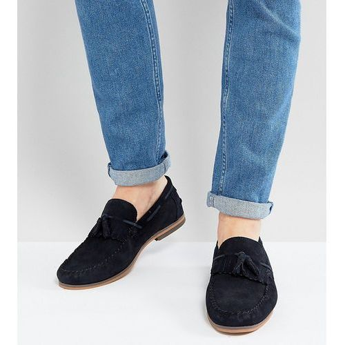 ASOS Wide Fit Tassel Loafers In Navy Suede With Fringe And Natural Sole - Navy, kolor szary