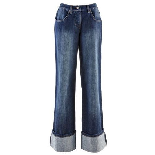 Szerokie, krótsze dżinsy  ciemny denim marki Bonprix