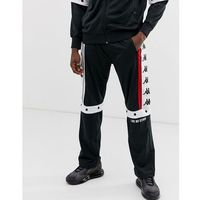 Kappa Authentic Baltas jogger with poppers and large logo taping in black - Black, w 5 rozmiarach