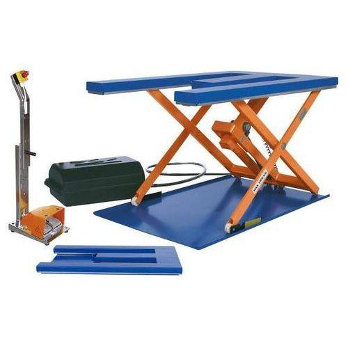 Płaski stół podnośny, dł. x szer. 1450x900 mm, zakres podnoszenia do 800 mm, pla