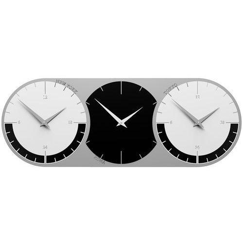 Calleadesign Zegar ścienny - 3 strefy czasowe world clock czarny / biały (12-010-5)