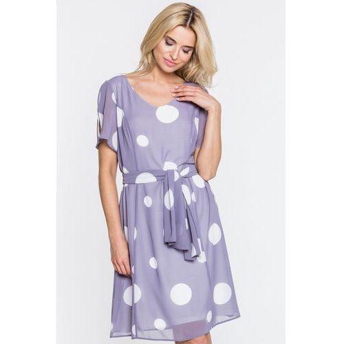 Metafora Szara sukienka w duże grochy -