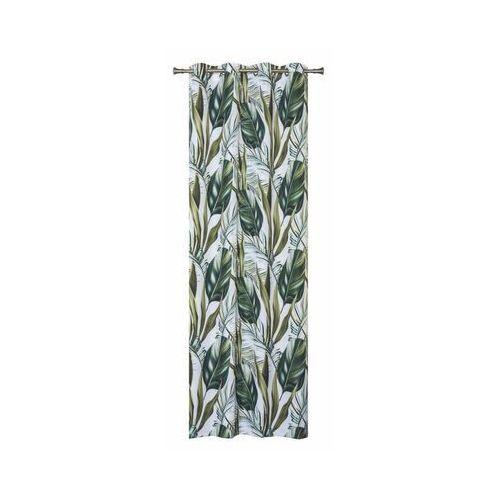 Zasłona w liście FIJI zielona 140 x 260 cm na przelotkach (5908262442116)