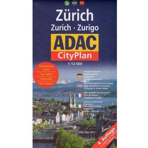 Zurych ADAC Plan miasta Zurich - skala 1:12 500 (2 str.)