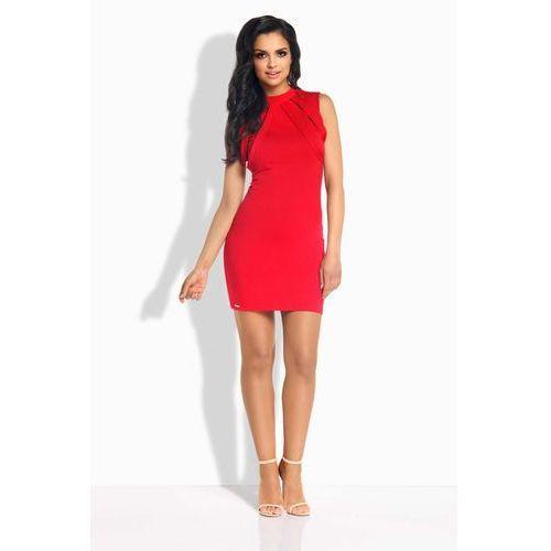 Czerwona Sukienka Ołówkowa Mini z Ozdobnymi Paskami, ołówkowa