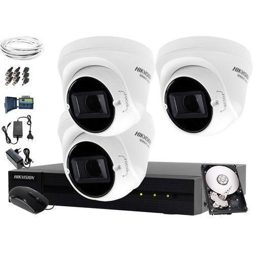 Hikvision hiwatch 3 x hwt-t323-z monitoring tani zestaw do firmy, biura hwd-6104mh-g2, 1tb, akcesoria