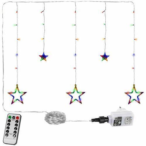 WIELOKOLOROWA KURTYNA NA OKNO 5 GWIAZD 61 DIOD LAMPKI CHOINKOWE - 61 LED / Mix kolorów (4048821770500)