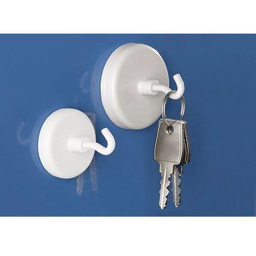 Maul Supermocny magnes z hakiem, lakierowana na biało, Ø 47 mm, przyczepność 12 kg, o