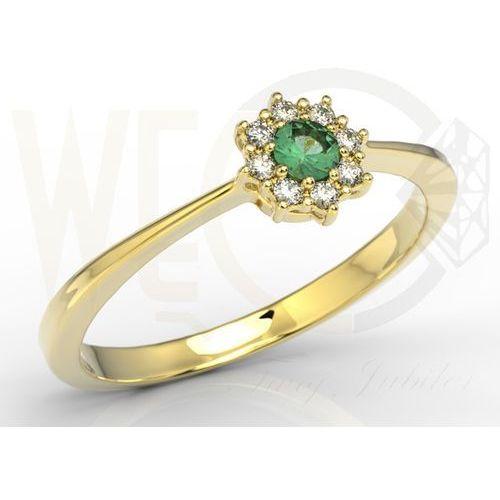 Węc - twój jubiler Pierścionek z żółtego złota ze szmaragdem i diamentami jp-49z
