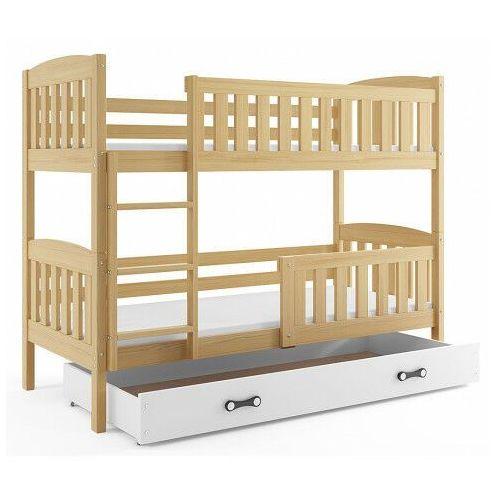 Piętrowe łóżko dla dzieci z białą szufladą 90x200 - celinda 3x marki Elior