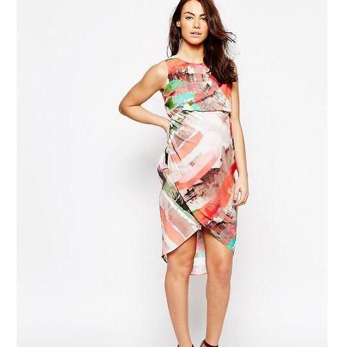drape front midi dress in abstract stripe print - multi marki Asos maternity