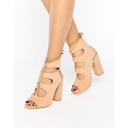 Truffle Collection Vela Ghillie Block Heeled Sandals - Beige