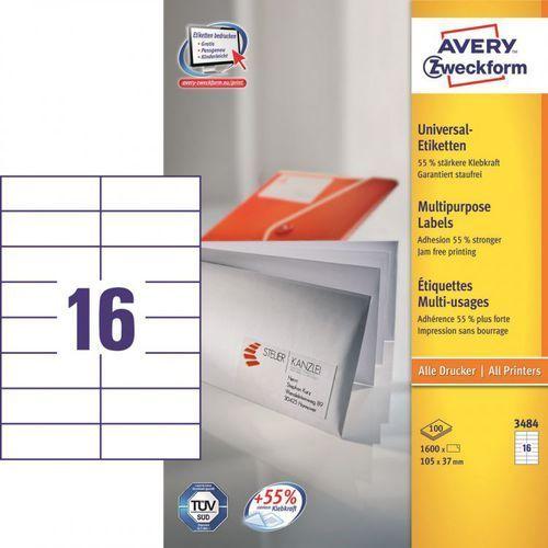 Etykiety uniwersalne 3484, 105x37mm marki Avery zweckform