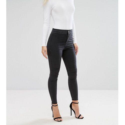 Asos petite Asos design petite rivington high waist denim jeggings in washed black - black