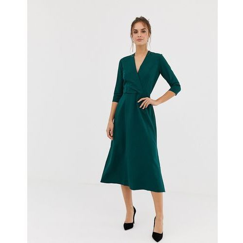Closet london Closet 3/4 sleeve wrap slit dress in green - green