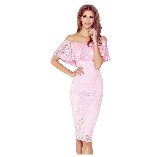 Różowa Koronkowa Sukienka Hiszpanka, kolor różowy