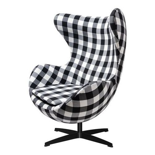 Fotel EGG CLASSIC BLACK kratka - tkanina, podstawa czarna, JH-026.KRATKA.B (10990455)