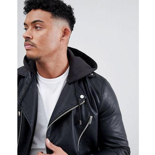 River island faux leather biker jacket with detachable hood in black - black