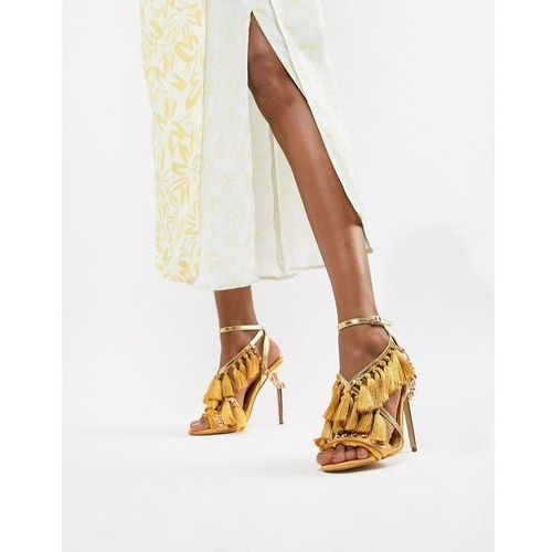 River island heeled sandals with tassel details in yellow - yellow