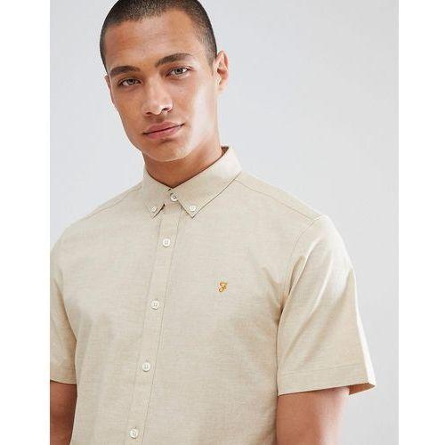 steen slim fit short sleeve textured shirt in sand - beige marki Farah