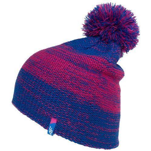 4f Damska ciepła czapka z18 cad006 35m niebieski / różowy l/xl