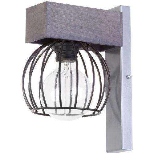 Sigma Kinkiet lampa ścienna milan 31711 metalowa oprawa druciana klatka hygge drewno szara (5902846815815)