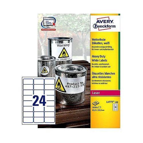 Etykiety avery heavy duty 63,5x33,9mm poliestrowe białe l4773-100, 100ark. a4 marki Avery zweckform